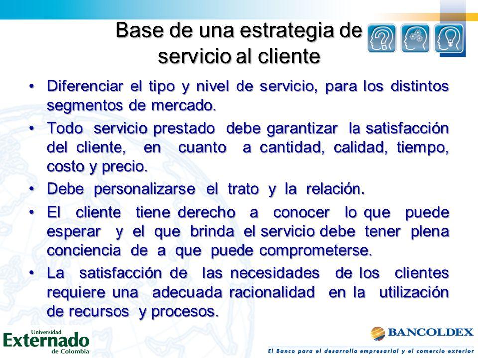 Base de una estrategia de servicio al cliente Diferenciar el tipo y nivel de servicio, para los distintos segmentos de mercado.Diferenciar el tipo y n