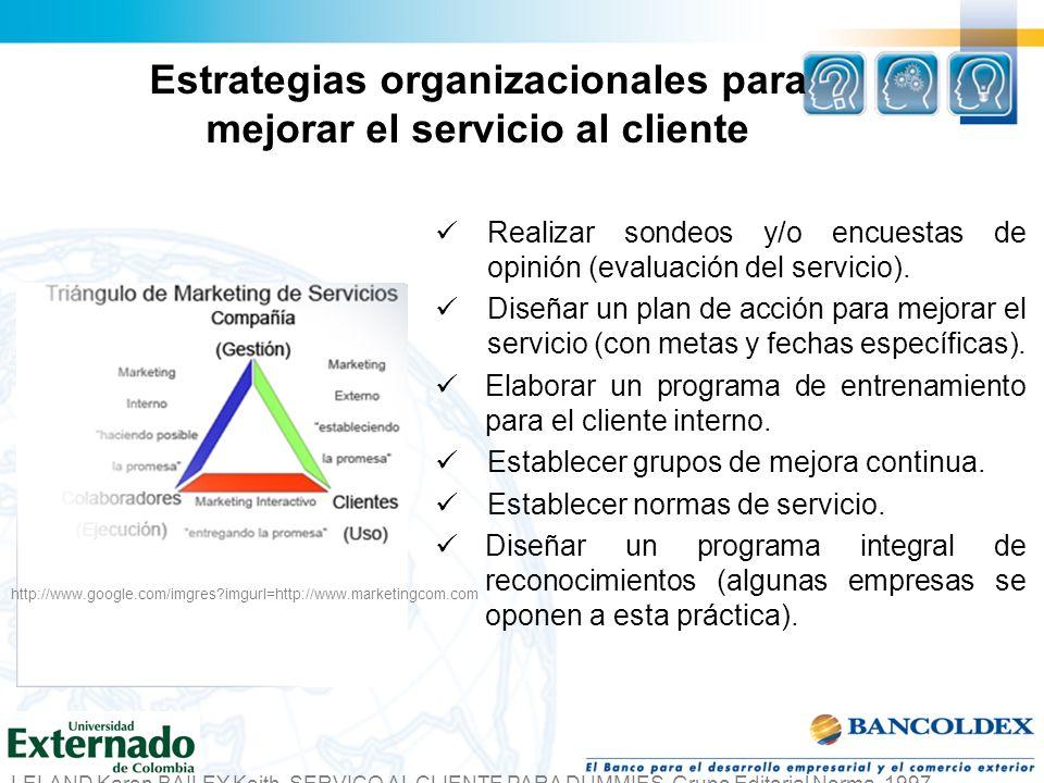 Estrategias organizacionales para mejorar el servicio al cliente Realizar sondeos y/o encuestas de opinión (evaluación del servicio). Diseñar un plan