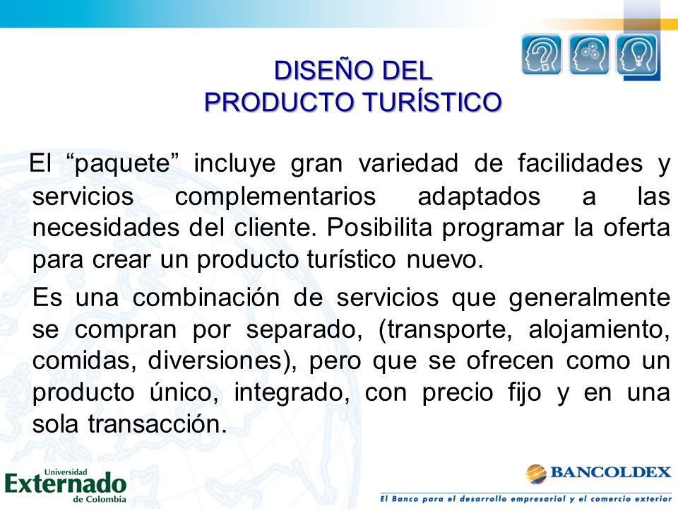 DISEÑO DEL PRODUCTO TURÍSTICO El paquete incluye gran variedad de facilidades y servicios complementarios adaptados a las necesidades del cliente. Pos