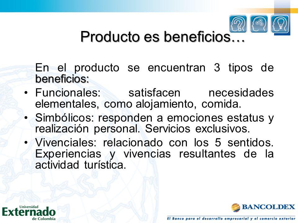 Producto es beneficios… beneficios: En el producto se encuentran 3 tipos de beneficios: Funcionales: satisfacen necesidades elementales, como alojamie