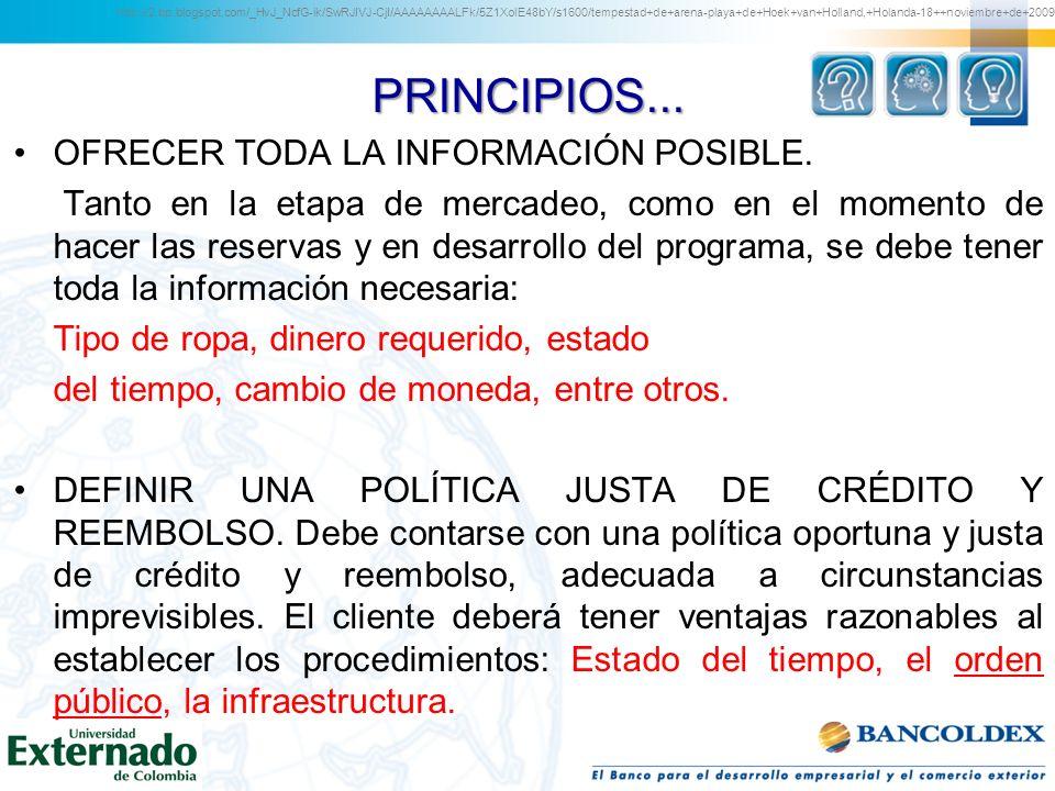 PRINCIPIOS... OFRECER TODA LA INFORMACIÓN POSIBLE. Tanto en la etapa de mercadeo, como en el momento de hacer las reservas y en desarrollo del program