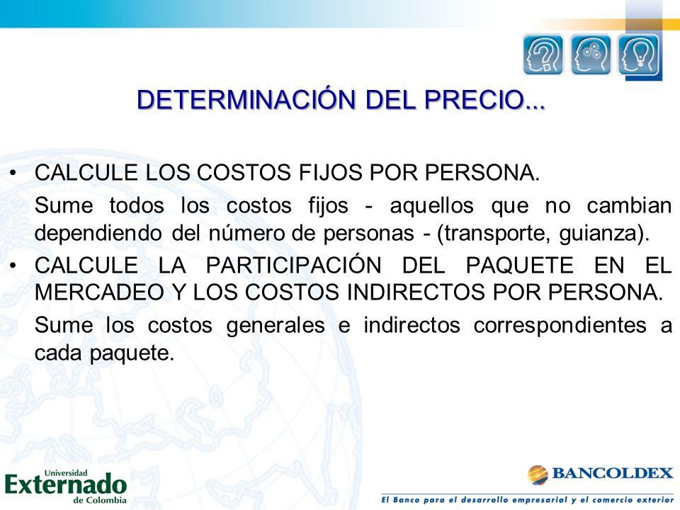 DETERMINACIÓN DEL PRECIO...CALCULE EL COSTO TOTAL DEL PAQUETE POR PERSONA.