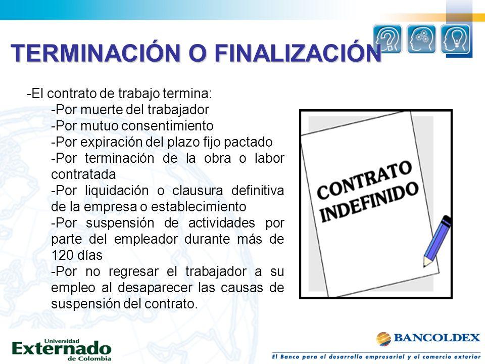 TERMINACIÓN O FINALIZACIÓN -El contrato de trabajo termina: -Por muerte del trabajador -Por mutuo consentimiento -Por expiración del plazo fijo pactad