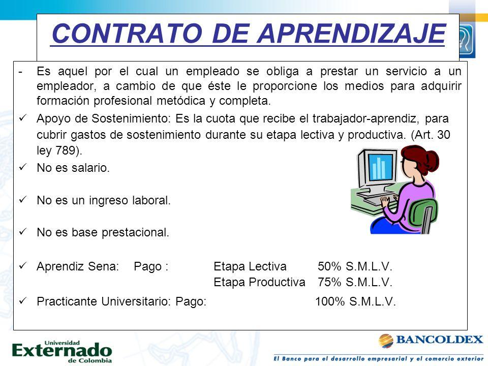 CONTRATO DE APRENDIZAJE -Es aquel por el cual un empleado se obliga a prestar un servicio a un empleador, a cambio de que éste le proporcione los medi
