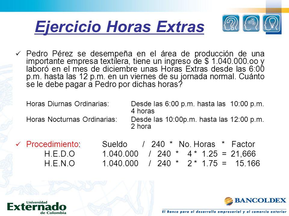 Ejercicio Horas Extras Pedro Pérez se desempeña en el área de producción de una importante empresa textilera, tiene un ingreso de $ 1.040.000.oo y lab