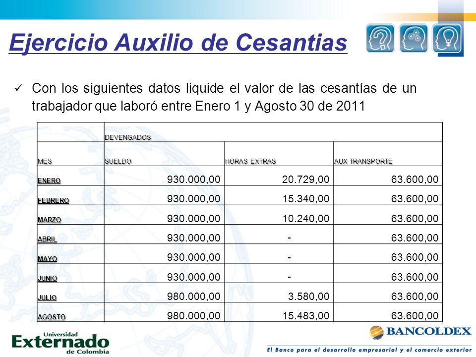 Ejercicio Auxilio de Cesantias Con los siguientes datos liquide el valor de las cesantías de un trabajador que laboró entre Enero 1 y Agosto 30 de 201