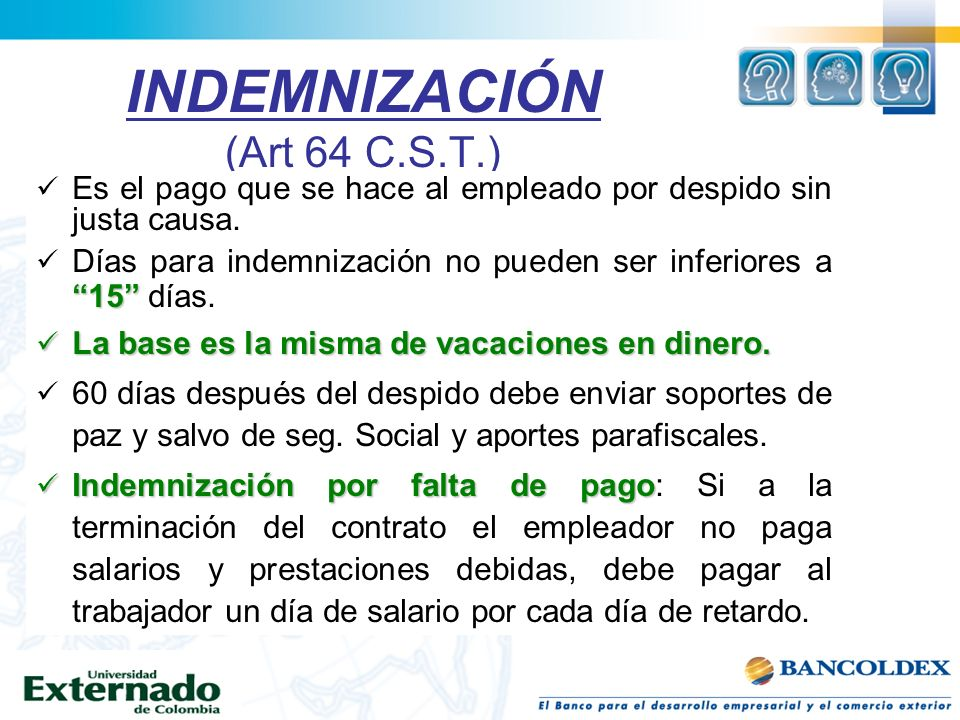 indemnizacion por despido sin justa causa: