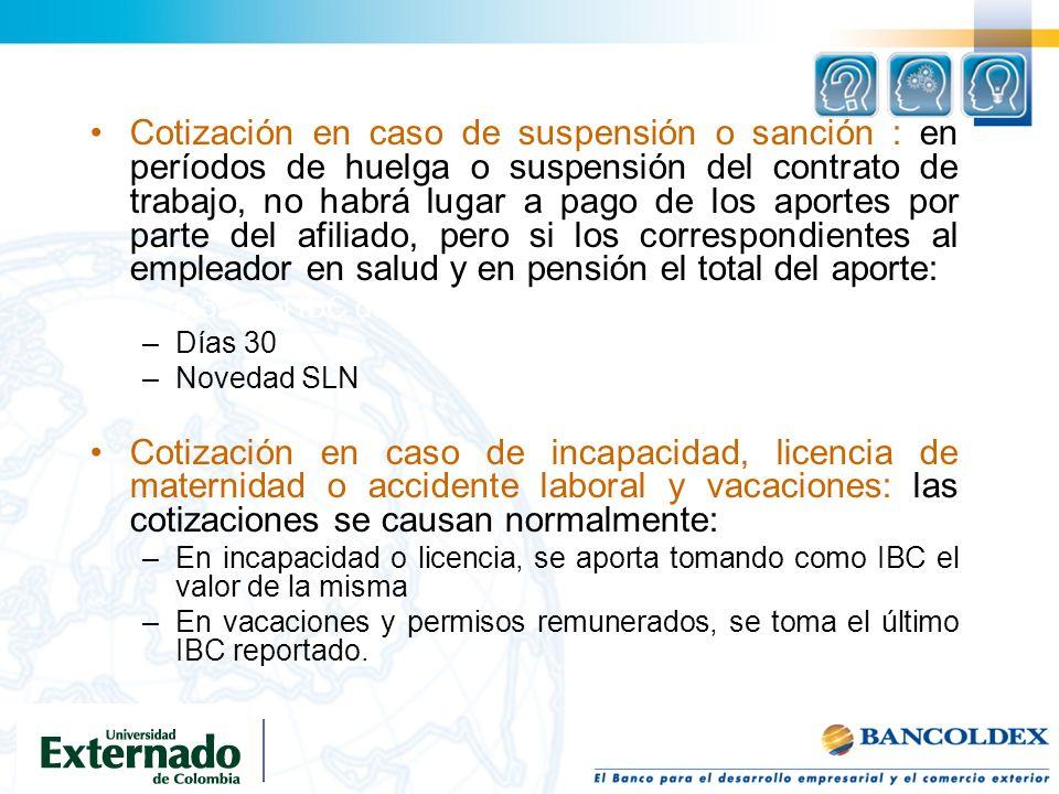 Cotización en caso de suspensión o sanción : en períodos de huelga o suspensión del contrato de trabajo, no habrá lugar a pago de los aportes por part