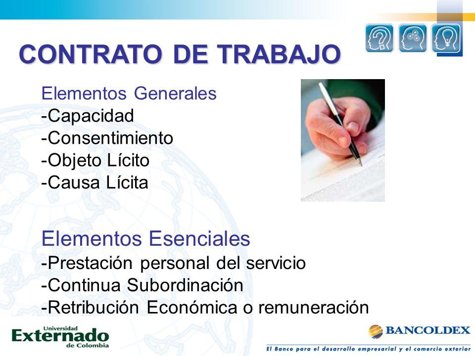 CONTRATO DE TRABAJO Elementos Generales -Capacidad -Consentimiento -Objeto Lícito -Causa Lícita Elementos Esenciales -Prestación personal del servicio