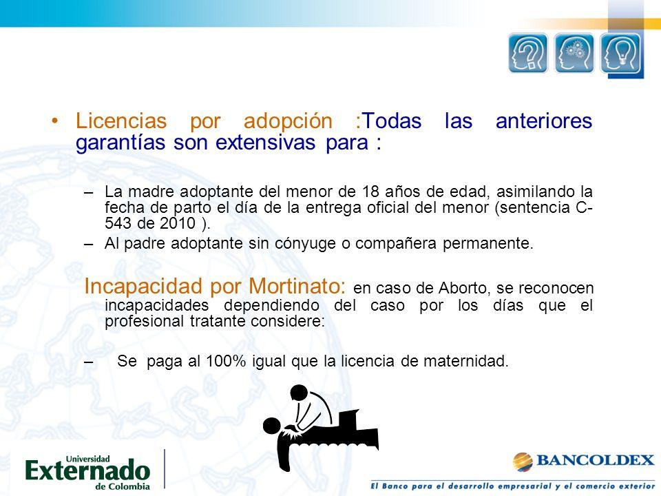 Licencias por adopción :Todas las anteriores garantías son extensivas para : –La madre adoptante del menor de 18 años de edad, asimilando la fecha de