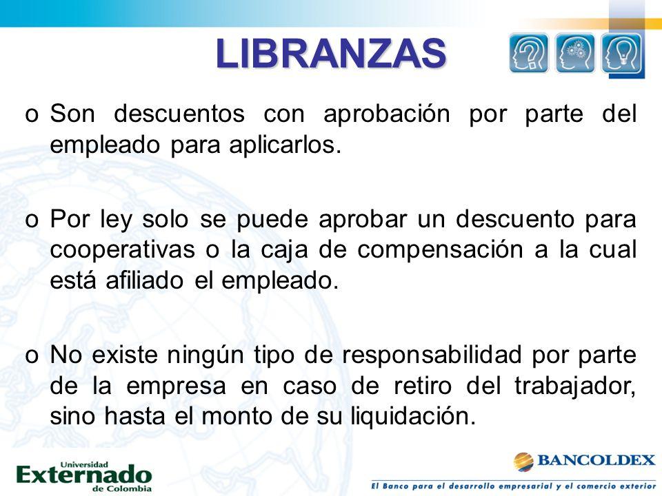 LIBRANZAS oSon descuentos con aprobación por parte del empleado para aplicarlos. oPor ley solo se puede aprobar un descuento para cooperativas o la ca