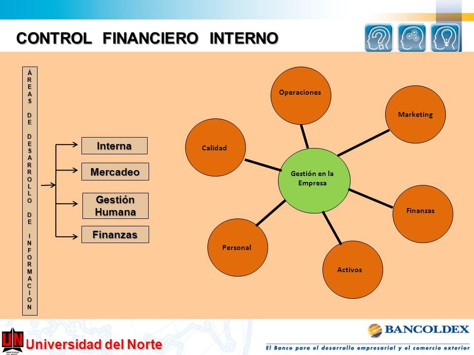 Universidad del Norte CONTROL FINANCIERO INTERNO Interna Mercadeo GestiónHumana Finanzas ÁREASDEDESARROLLODEINFORMACION Gestión en la Empresa Marketin