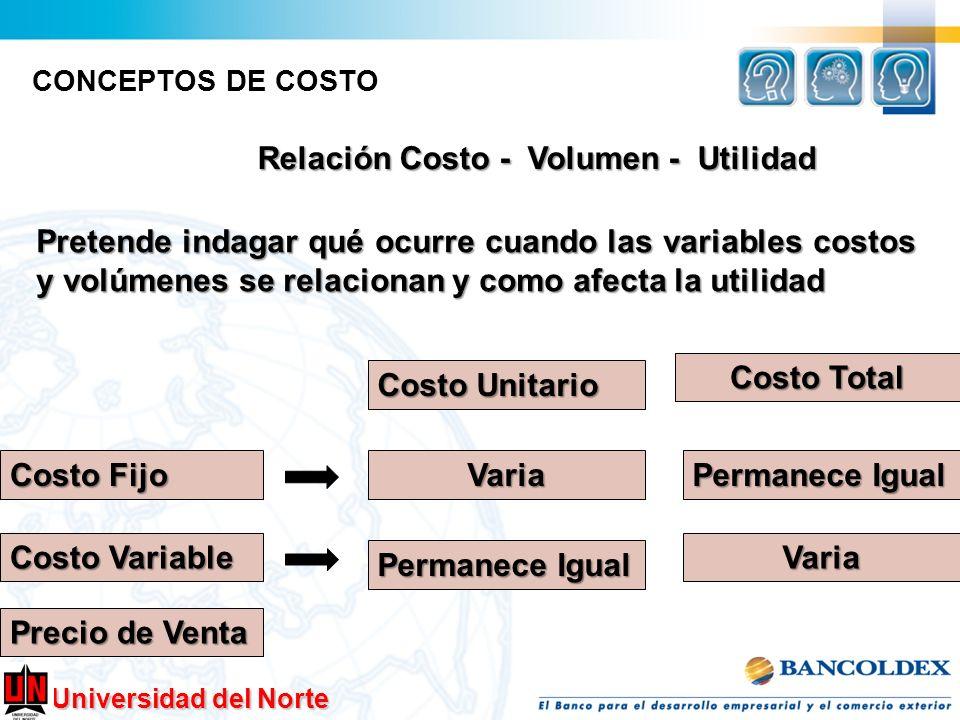Universidad del Norte CONCEPTOS DE COSTO Relación Costo - Volumen - Utilidad Pretende indagar qué ocurre cuando las variables costos y volúmenes se re