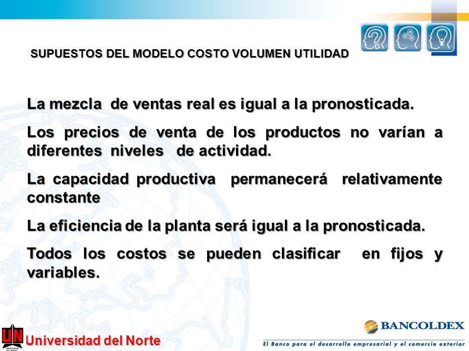 Universidad del Norte SUPUESTOS DEL MODELO COSTO VOLUMEN UTILIDAD La mezcla de ventas real es igual a la pronosticada. Los precios de venta de los pro