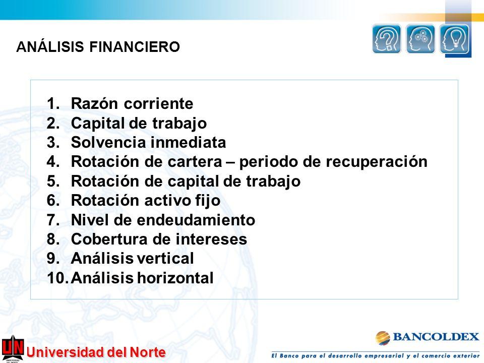 Universidad del Norte 1.Razón corriente 2.Capital de trabajo 3.Solvencia inmediata 4.Rotación de cartera – periodo de recuperación 5.Rotación de capit