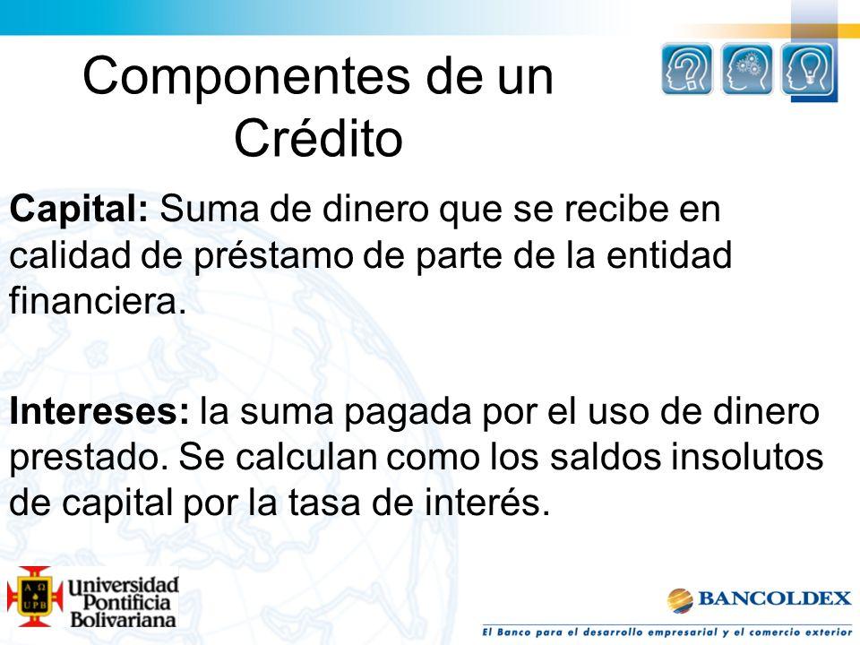 Componentes de un Crédito Capital: Suma de dinero que se recibe en calidad de préstamo de parte de la entidad financiera. Intereses: la suma pagada po