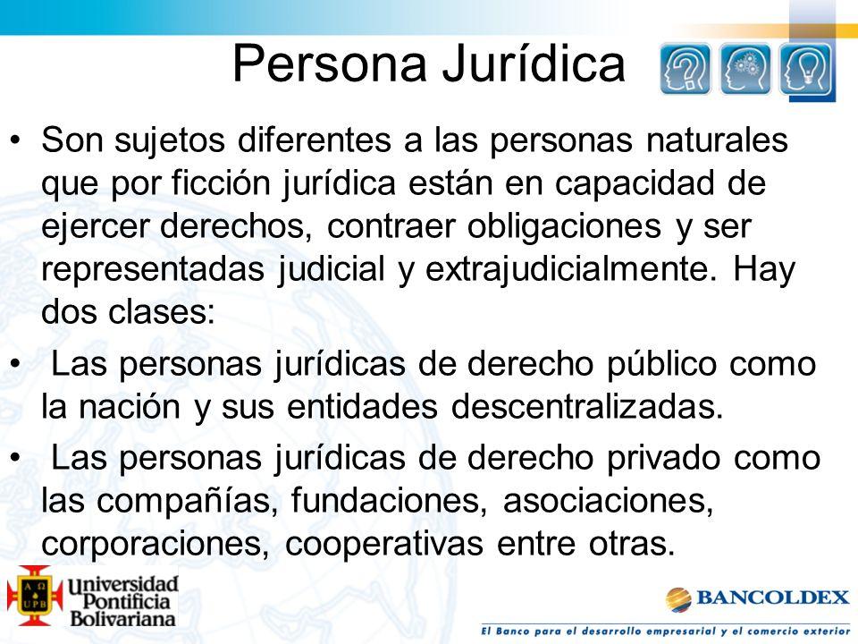 Persona Jurídica Son sujetos diferentes a las personas naturales que por ficción jurídica están en capacidad de ejercer derechos, contraer obligacione