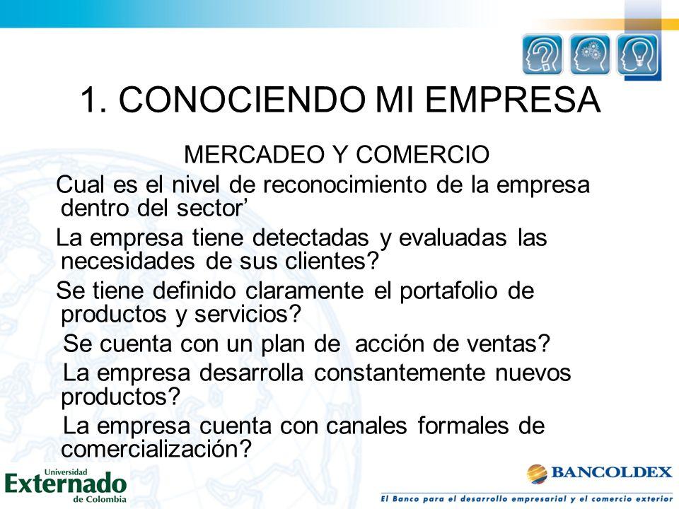 1. CONOCIENDO MI EMPRESA MERCADEO Y COMERCIO Cual es el nivel de reconocimiento de la empresa dentro del sector La empresa tiene detectadas y evaluada