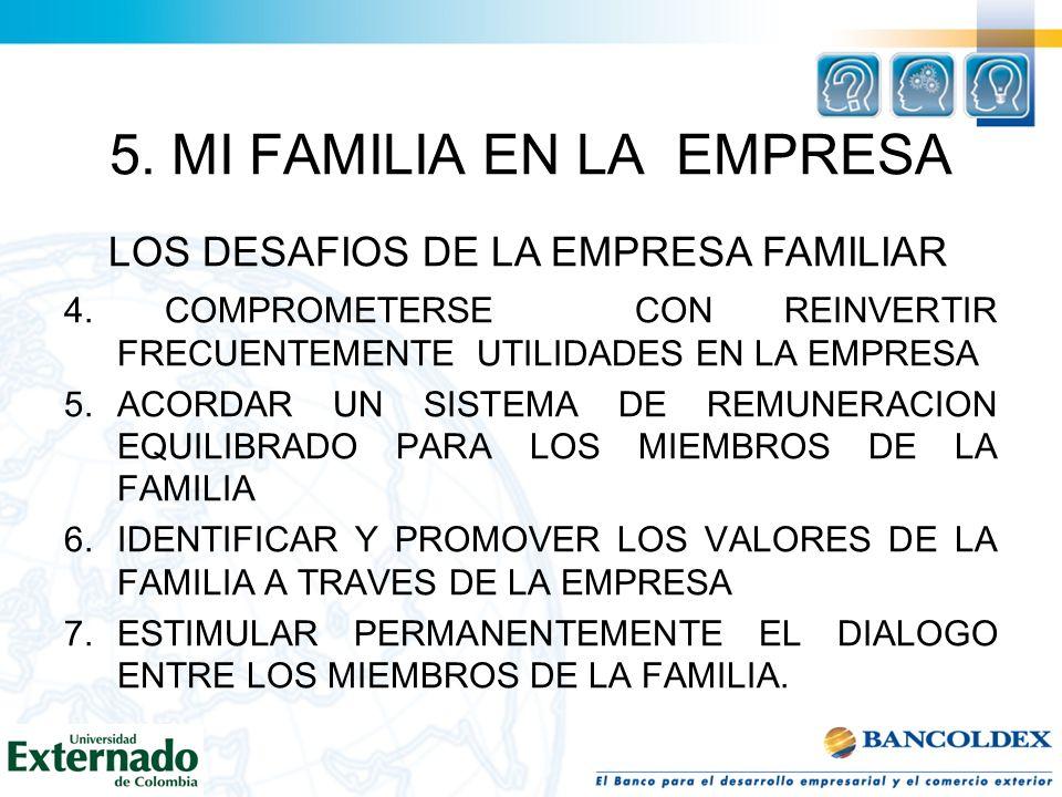 5. MI FAMILIA EN LA EMPRESA 4. COMPROMETERSE CON REINVERTIR FRECUENTEMENTE UTILIDADES EN LA EMPRESA 5.ACORDAR UN SISTEMA DE REMUNERACION EQUILIBRADO P