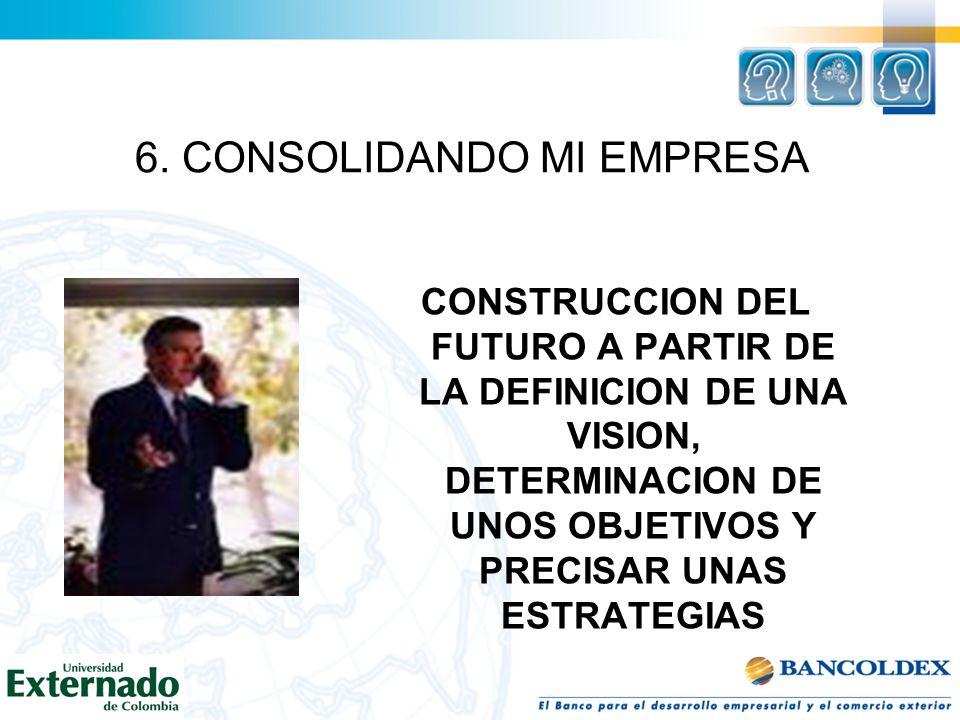 CONSTRUCCION DEL FUTURO A PARTIR DE LA DEFINICION DE UNA VISION, DETERMINACION DE UNOS OBJETIVOS Y PRECISAR UNAS ESTRATEGIAS 6. CONSOLIDANDO MI EMPRES