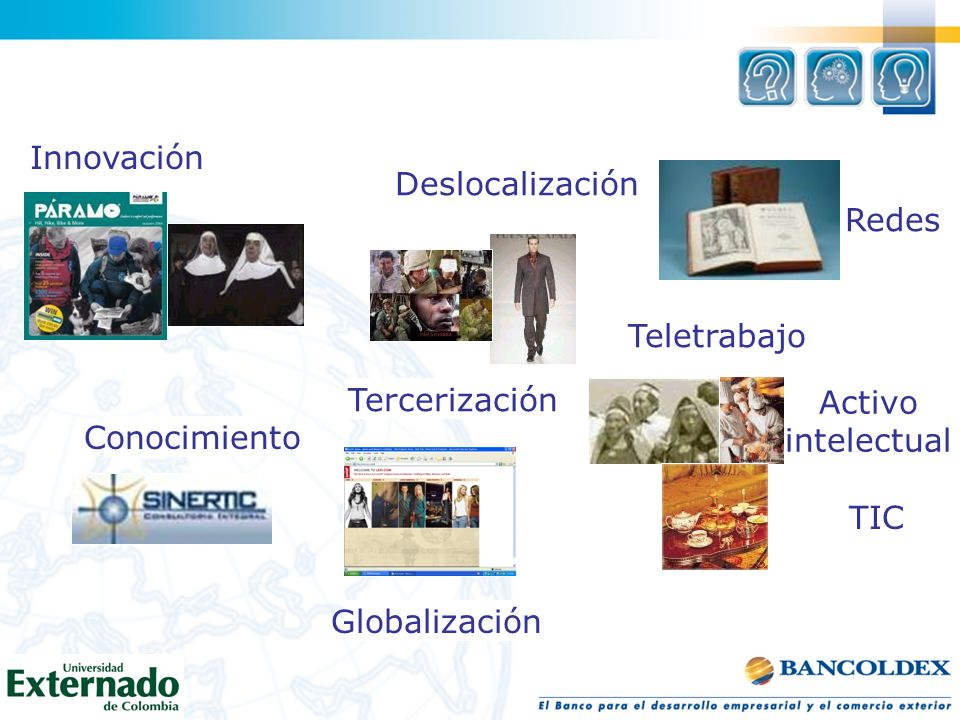 TIC Globalización Teletrabajo Redes Innovación Deslocalización Tercerización Activo intelectual Conocimiento
