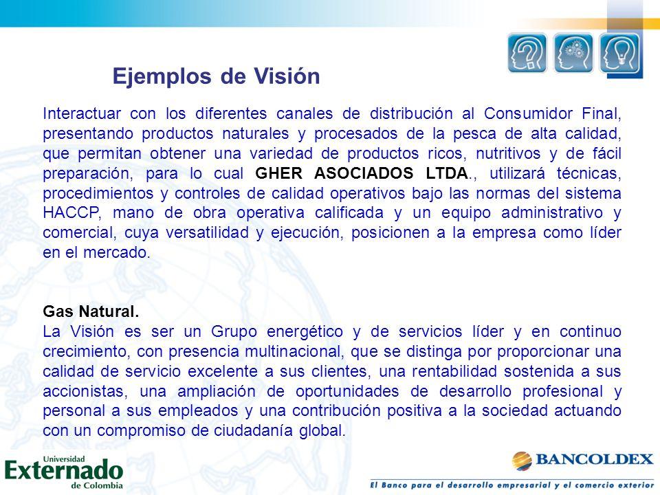 Ejemplos de Visión Interactuar con los diferentes canales de distribución al Consumidor Final, presentando productos naturales y procesados de la pesc