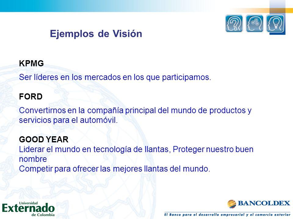 Ejemplos de Visión KPMG Ser líderes en los mercados en los que participamos. FORD Convertirnos en la compañía principal del mundo de productos y servi