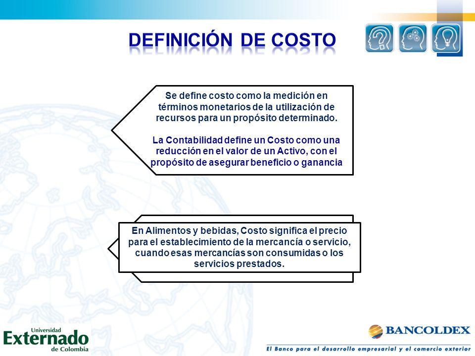 Se define costo como la medición en términos monetarios de la utilización de recursos para un propósito determinado. La Contabilidad define un Costo c