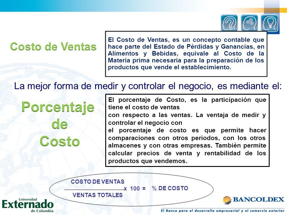 El Costo de Ventas, es un concepto contable que hace parte del Estado de Pérdidas y Ganancias, en Alimentos y Bebidas, equivale al Costo de la Materia