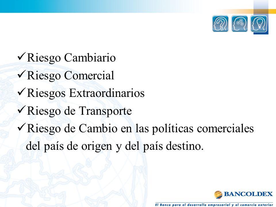 Riesgo Cambiario Riesgo Comercial Riesgos Extraordinarios Riesgo de Transporte Riesgo de Cambio en las políticas comerciales del país de origen y del