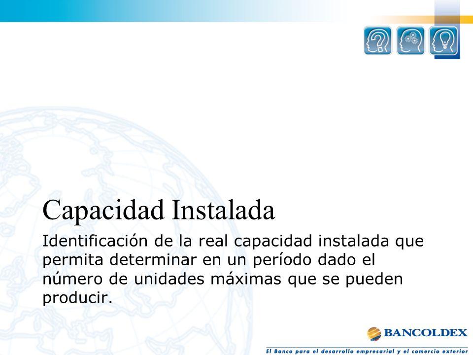 Identificación de la real capacidad instalada que permita determinar en un período dado el número de unidades máximas que se pueden producir. Capacida