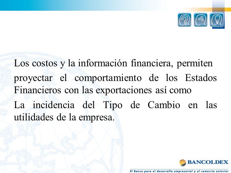 Los costos y la información financiera, permiten proyectar el comportamiento de los Estados Financieros con las exportaciones así como La incidencia d