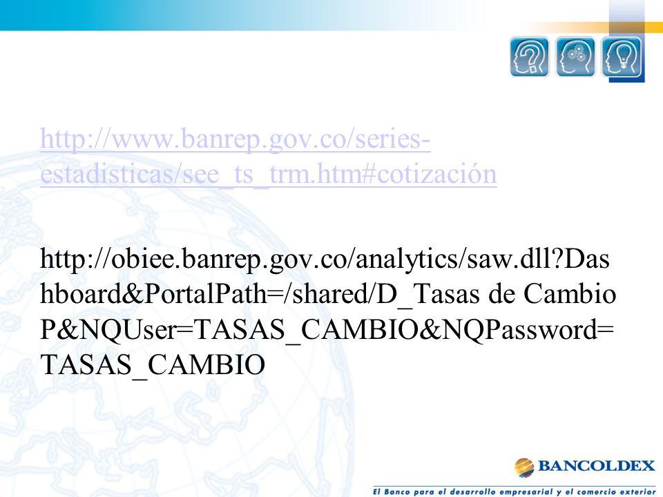 T http://www.banrep.gov.co/series- estadisticas/see_ts_trm.htm#cotización http://obiee.banrep.gov.co/analytics/saw.dll?Das hboard&PortalPath=/shared/D