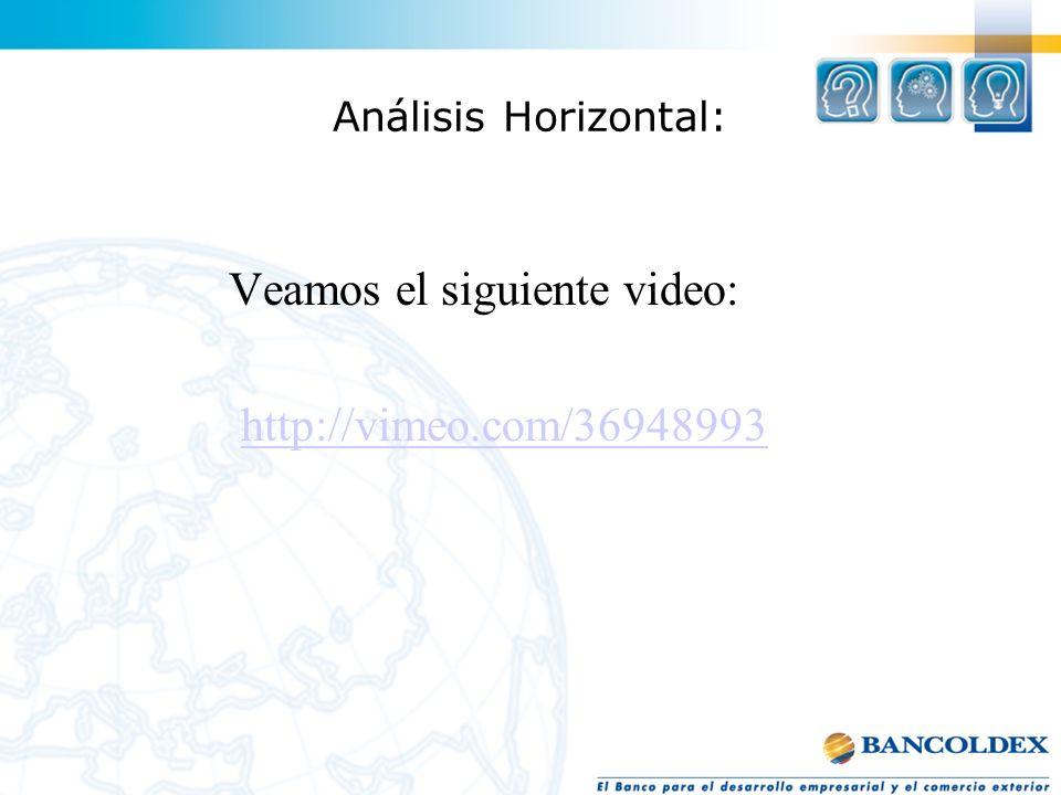 Análisis Horizontal: Veamos el siguiente video: http://vimeo.com/36948993