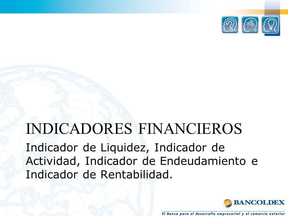 Indicador de Liquidez, Indicador de Actividad, Indicador de Endeudamiento e Indicador de Rentabilidad. A INDICADORES FINANCIEROS