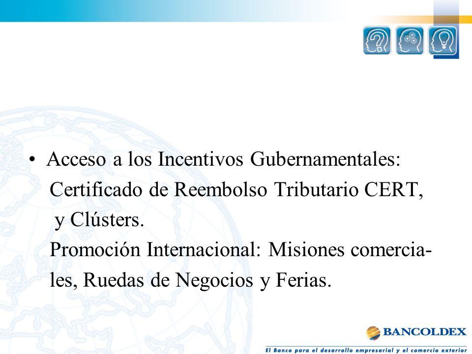 Acceso a los Incentivos Gubernamentales: Certificado de Reembolso Tributario CERT, y Clústers. Promoción Internacional: Misiones comercia- les, Ruedas