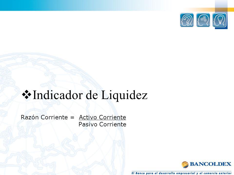 Razón Corriente = Activo Corriente Pasivo Corriente Indicador de Liquidez