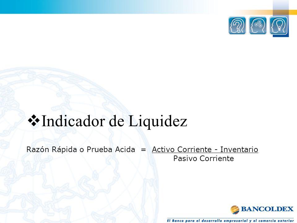 Razón Rápida o Prueba Acida = Activo Corriente - Inventario Pasivo Corriente Indicador de Liquidez