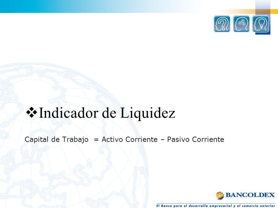 Capital de Trabajo = Activo Corriente – Pasivo Corriente Indicador de Liquidez