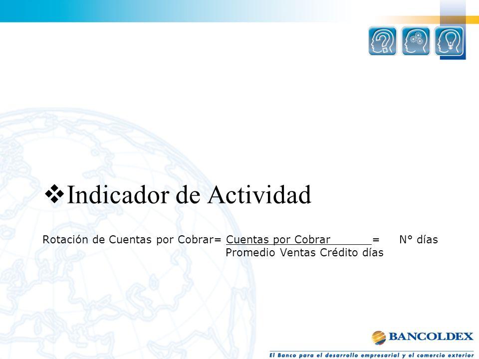 Rotación de Cuentas por Cobrar= Cuentas por Cobrar = N° días Promedio Ventas Crédito días Indicador de Actividad