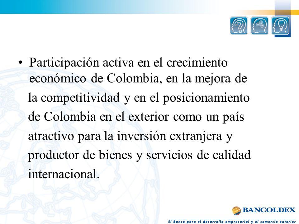 Participación activa en el crecimiento económico de Colombia, en la mejora de la competitividad y en el posicionamiento de Colombia en el exterior com