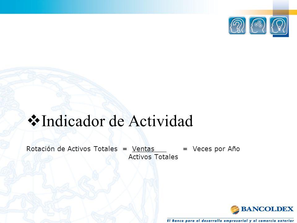 Rotación de Activos Totales = Ventas = Veces por Año Activos Totales Indicador de Actividad