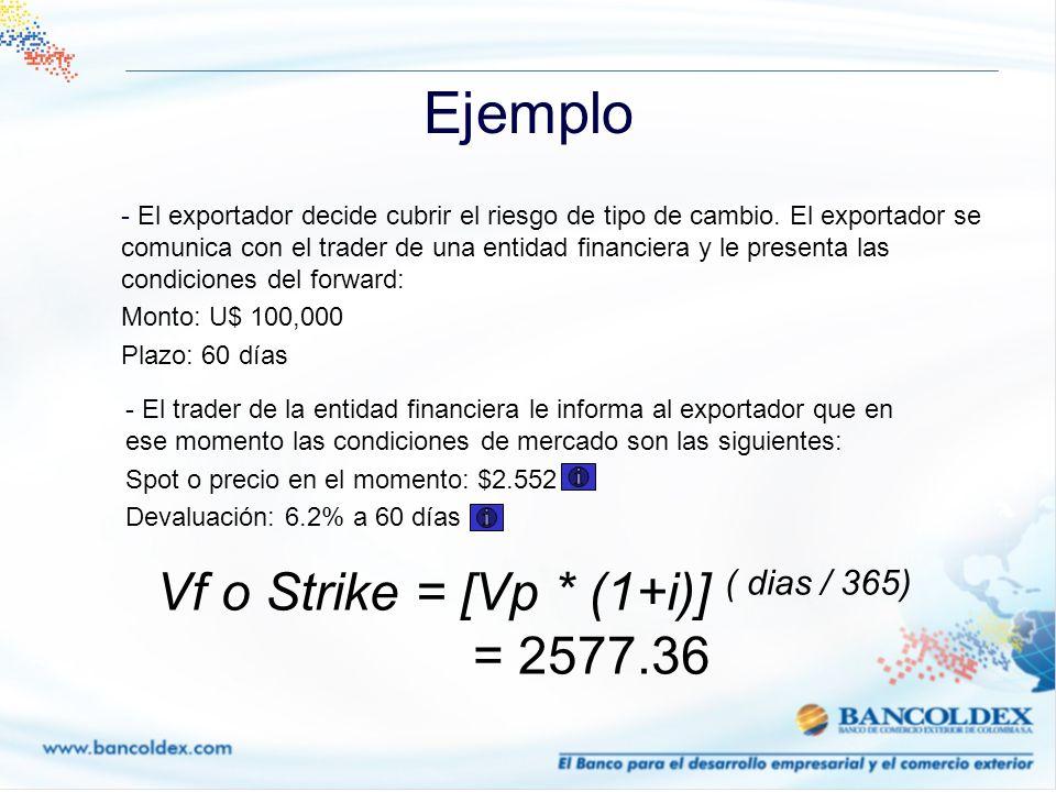 Ejemplo - El exportador decide cubrir el riesgo de tipo de cambio. El exportador se comunica con el trader de una entidad financiera y le presenta las