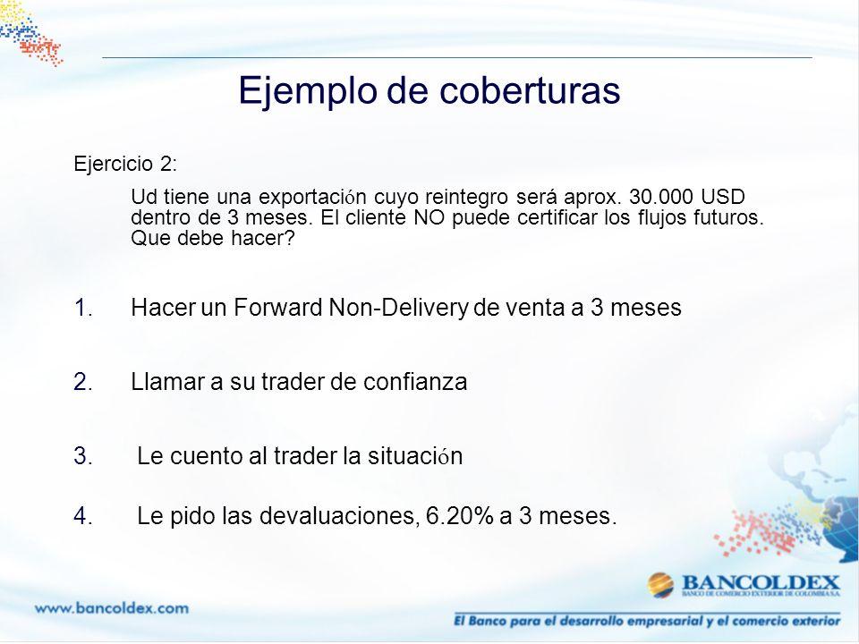 Ejemplo de coberturas Ejercicio 2: Ud tiene una exportaci ó n cuyo reintegro será aprox. 30.000 USD dentro de 3 meses. El cliente NO puede certificar