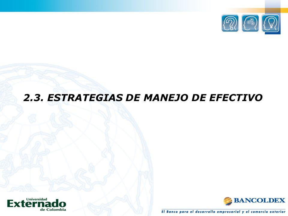 2.3. ESTRATEGIAS DE MANEJO DE EFECTIVO