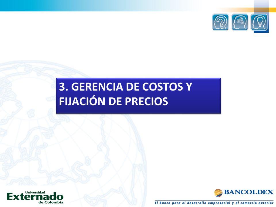 3. GERENCIA DE COSTOS Y FIJACIÓN DE PRECIOS