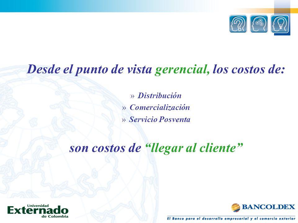 Desde el punto de vista gerencial, los costos de: »Distribución »Comercialización »Servicio Posventa son costos de llegar al cliente