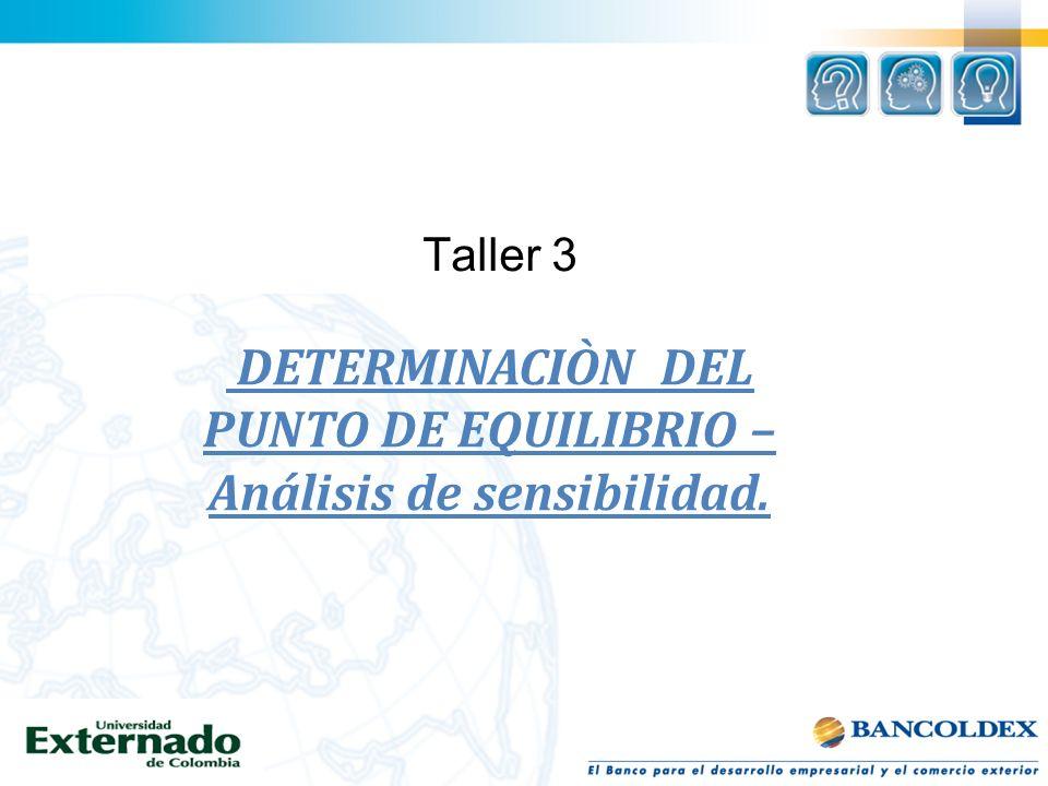 Taller 3 DETERMINACIÒN DEL PUNTO DE EQUILIBRIO – Análisis de sensibilidad.