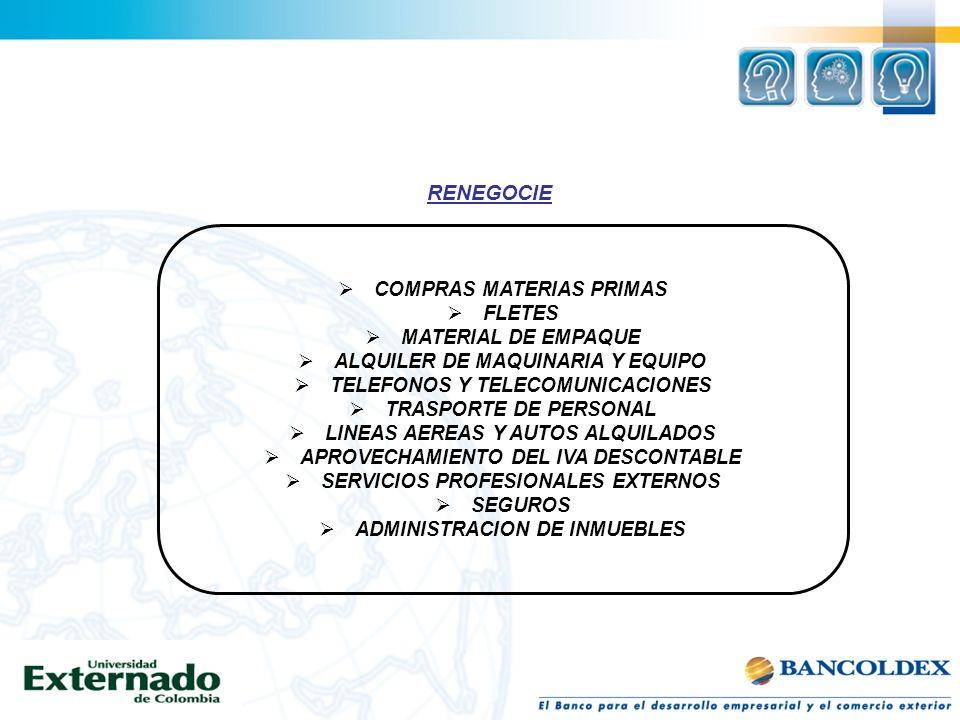 Gerencia de costos y ventaja Competitiva Rico, Luis Fernando Pág 91 RENEGOCIE COMPRAS MATERIAS PRIMAS FLETES MATERIAL DE EMPAQUE ALQUILER DE MAQUINARI