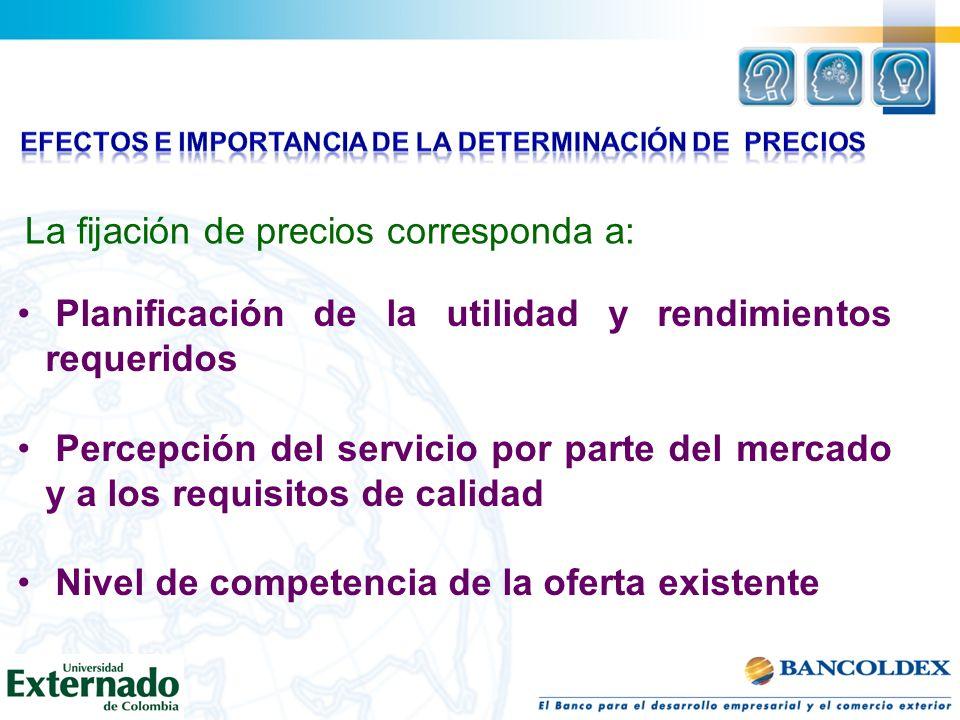 La fijación de precios corresponda a: Planificación de la utilidad y rendimientos requeridos Percepción del servicio por parte del mercado y a los req